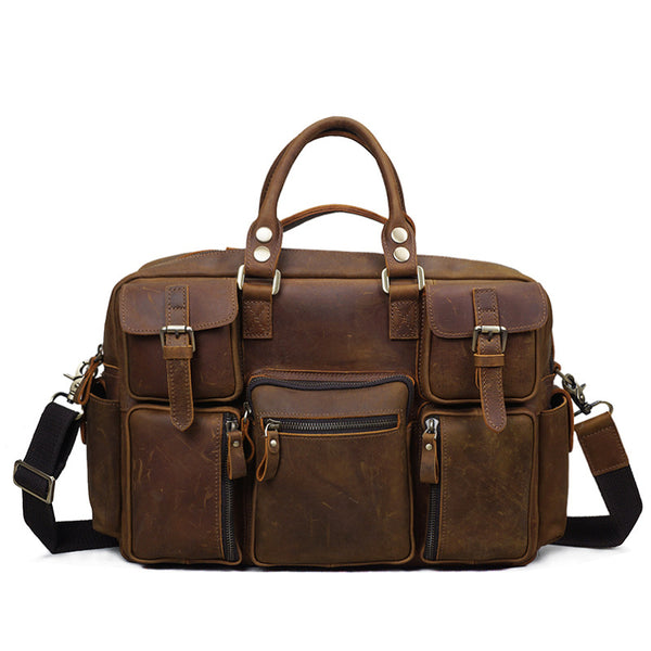 Men Retro Tote Bag Crazy Horse Leather Men Travel Bag Men Shoulder Messenger Duffel Bag YD8058 - ROCKCOWLEATHERSTUDIO