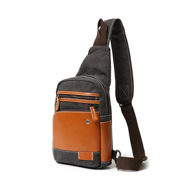 Latest Fashion Canvas Leather Chest Bag New Design Sling Bag Vintage Chest Pack 1 - ROCKCOWLEATHERSTUDIO