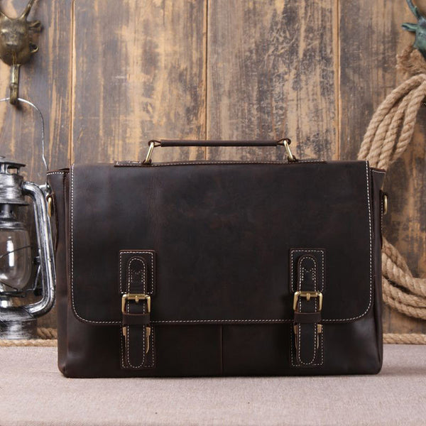Vintage Retro Look Genuine Leather Laptop Shoulder Bag Leather Messenger Bag Leather Bag 8069 - ROCKCOWLEATHERSTUDIO