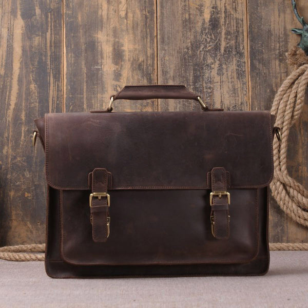 Vintage Style Genuine Leather Laptop Messenger Bag Leather 7205 - ROCKCOWLEATHERSTUDIO