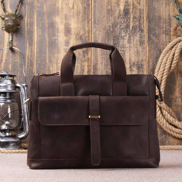 Genuine Leather Laptop Bag Messenger Shoulder Bag 9075 - ROCKCOWLEATHERSTUDIO