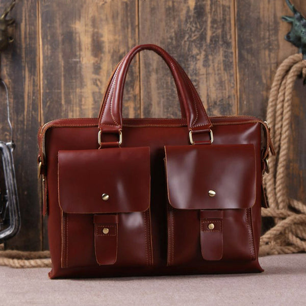 Dark Color Leather Briefcase Messenger Laptop Bag 7001R - ROCKCOWLEATHERSTUDIO