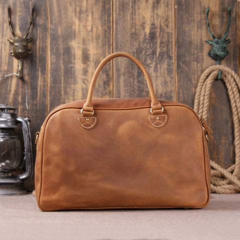 Solid Brown Leather Travel Bag with Padded Laptop Section 9064 - ROCKCOWLEATHERSTUDIO