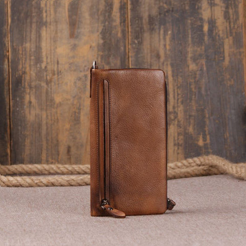 ROCKCOW Vintage Women's Genuine Leather Trifold Wallet 9055