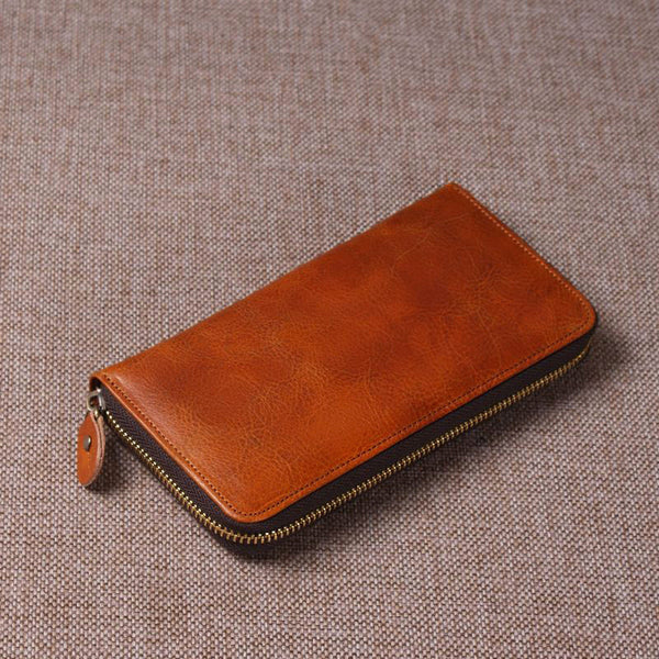Handmade Brown Leather Wallet Leather Purse 9049 - ROCKCOWLEATHERSTUDIO