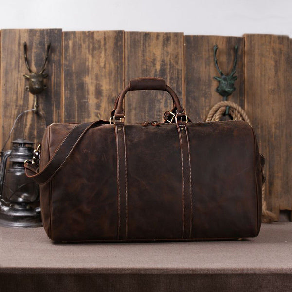 Handmade Vintage Leather Holdall Duffle Bag for Men - ROCKCOWLEATHERSTUDIO
