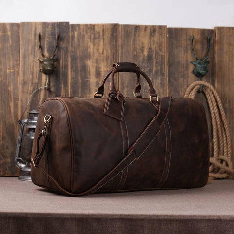 Men's Leather Holdall Duffel Weekender Travel Bag Leather Overnight Bag 12027 - ROCKCOWLEATHERSTUDIO
