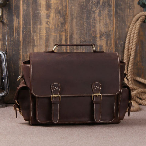 Dark Brown Leather Messenger Bag for Photographers, Travelers & Diaper Bag for Mother 6919 - ROCKCOWLEATHERSTUDIO