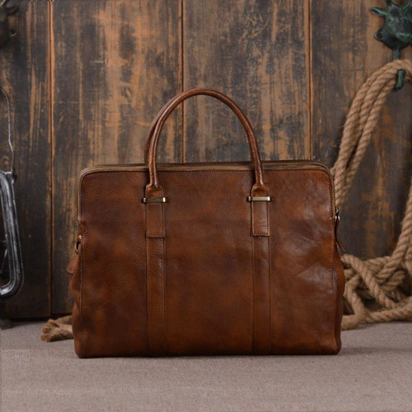 Italian Leather Men's Portfolio Laptop Bag Briefcase 9043 - ROCKCOWLEATHERSTUDIO