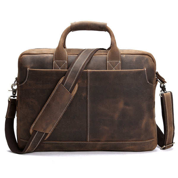 "ROCKCOW Men's Leather Durable Briefcase, 16"" Laptop Bag 8012 - ROCKCOWLEATHERSTUDIO"