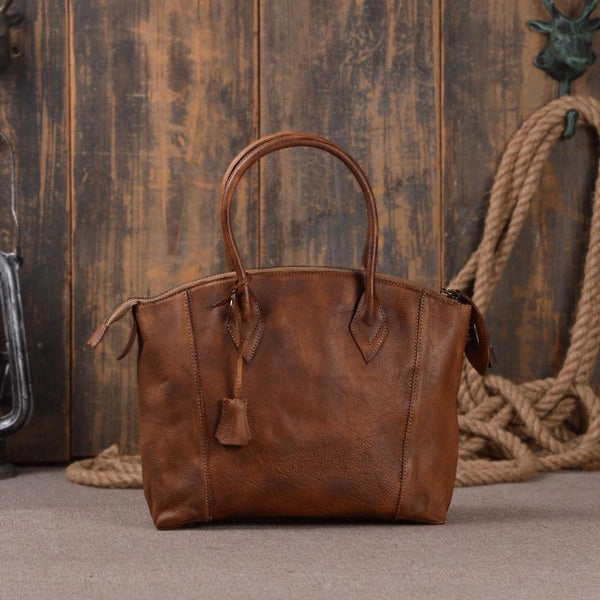 Leather Shoudler Bag with Handle Leather Business Messenger Bag 9038 - ROCKCOWLEATHERSTUDIO