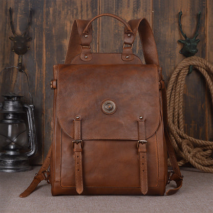 Large Leather Backpack Vintage Leather Backpack Travel 9036 - ROCKCOWLEATHERSTUDIO