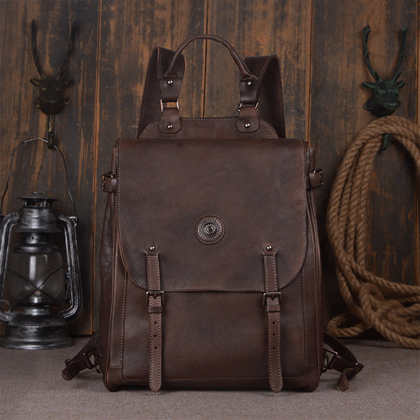 ... Handmade Leather Backpack Purse 7a76014530