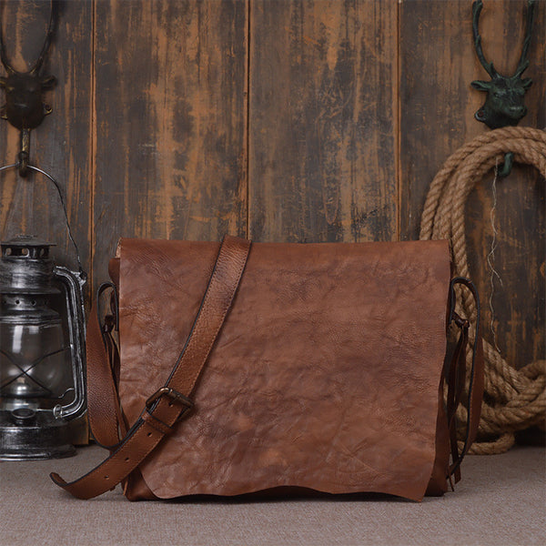 Handcrafted Genuine Leather Messenger Shoulder Bag 9034 - ROCKCOWLEATHERSTUDIO