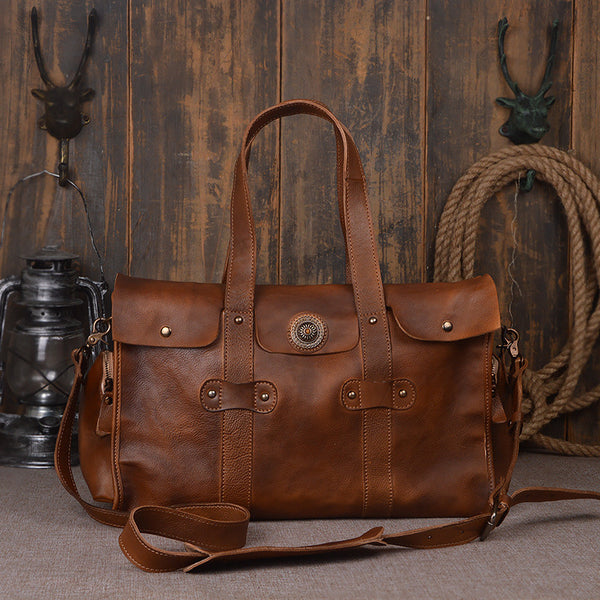 RockCow Full Grain Leather Travel Bag - ROCKCOWLEATHERSTUDIO