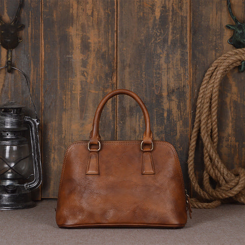 Vintage Retro Look Genuine Leather Tote Bag, Shopping Bag, Leather Messenger Bag 9032 - ROCKCOWLEATHERSTUDIO