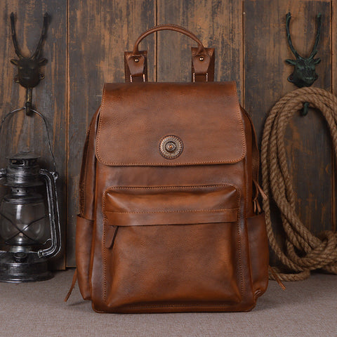 Handmade Genuine Leather Backpack, Travel Backpack, School Backpack 9031 - ROCKCOWLEATHERSTUDIO