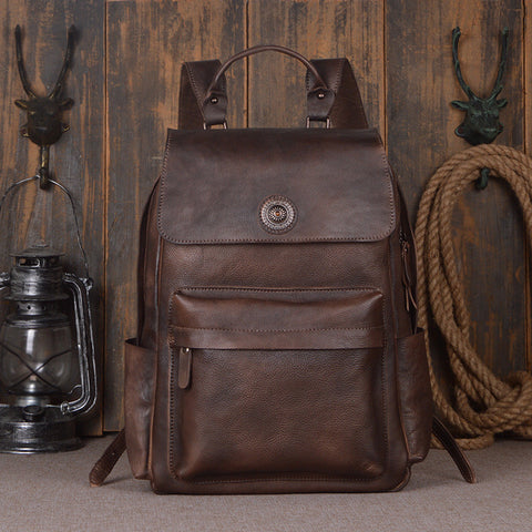 Vintage Style Full Grain Leather Backpack Travel Backpack Rucksack 9031 - ROCKCOWLEATHERSTUDIO