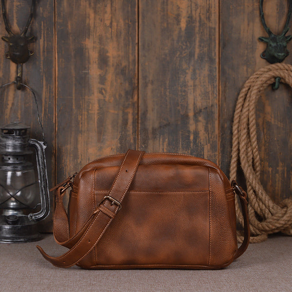 Handcrafted Genuine Leather Satchel Bag 9030 - ROCKCOWLEATHERSTUDIO