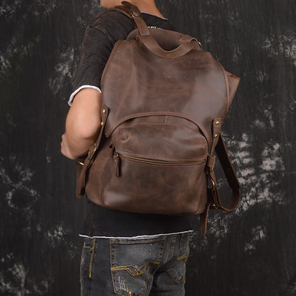 ROCKCOW Vintage Style Handmade Leather Backpack, Casual Backpack, School Backpack 5106 - ROCKCOWLEATHERSTUDIO