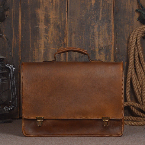 ROCKCOW Full Grain Leather Briefcase Bag, Messenger Shoulder Bag, Men Handbag 9013