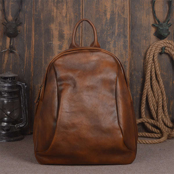 Handmade Full Grain Leather Backpack Womens, Small Backpacks for Women - ROCKCOWLEATHERSTUDIO