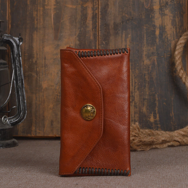 Full Grain Leather Wallet, Vintage Women Wallet, Card Holder, Long Wallet 9005 - ROCKCOWLEATHERSTUDIO