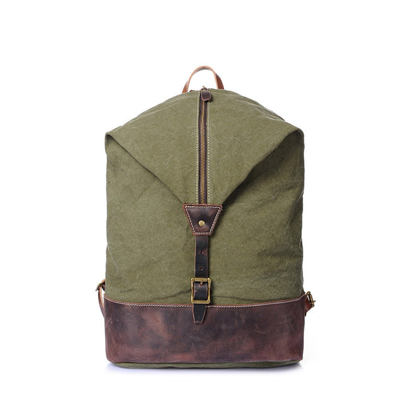 Canvas Leather Backpack, Laptop Backpack, Vintage Waterproof Shoulder Bag 2108 - ROCKCOWLEATHERSTUDIO