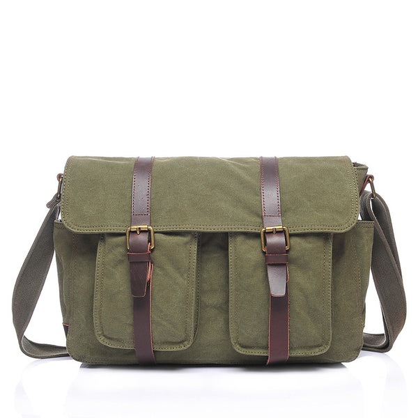 Waxed Canvas Crazy Horse Leather Messenger Bag Crossbody Shoulder Bag Laptop Bag 2156 - ROCKCOWLEATHERSTUDIO