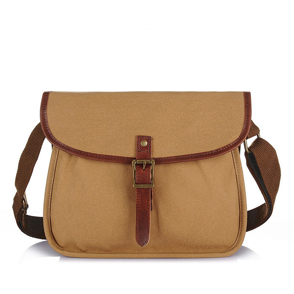 Fashion Waxed Canvas Leather Messenger Bag Crossbody Shoulder Bag School Bag 2112 - ROCKCOWLEATHERSTUDIO