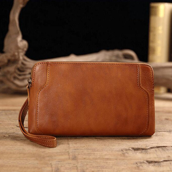 Men Full Grain Leather Clutch Retro Wrist Bag Handmade Envelope Clutch V180146
