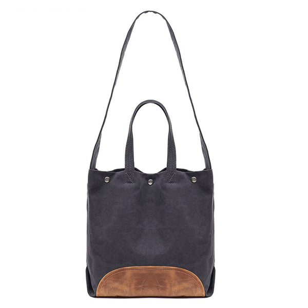 ... Japanese Korean Style Canvas Leather Tote Bag f6cf3488247d
