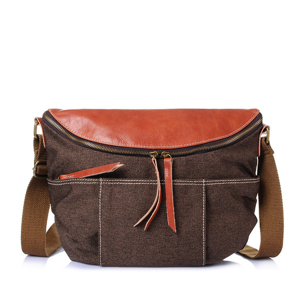 57823d7ff489c ... Leather With Canvas Men Messenger Bag Retro Canvas College style  Crossbody Bag Large Capacity Canvas Shoulder ...