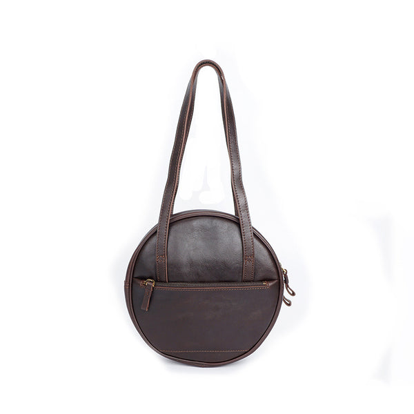 Full Grain Leather Women Shoulder Bag Women Round Bag Vintage Circle Tote Bag YD8259 - ROCKCOWLEATHERSTUDIO
