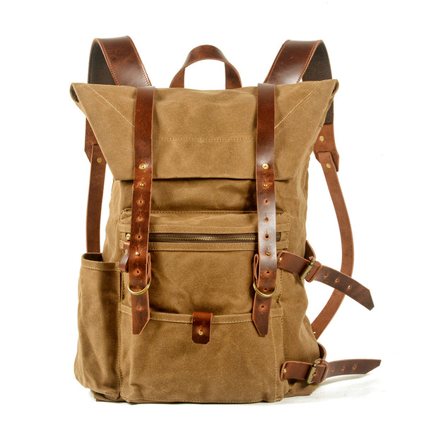 Waxed Canvas And Full Grain Leather Backpack Handmade Travel Rucksack Waterproof Canvas Laptop Backpack MC5020