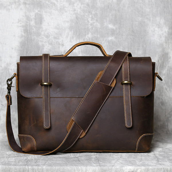 Handmade Full  Grain Leather Briefcase Vintage Brown Business Messenger Bag Handbags 7082
