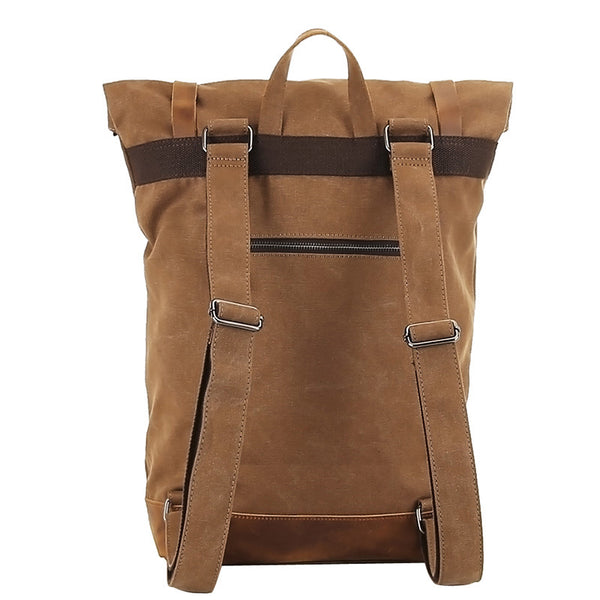 Waxed Canvas Top Grain Leather Backpack, Stylish Travel Backpack, Vintage  Rucksack 1004-1