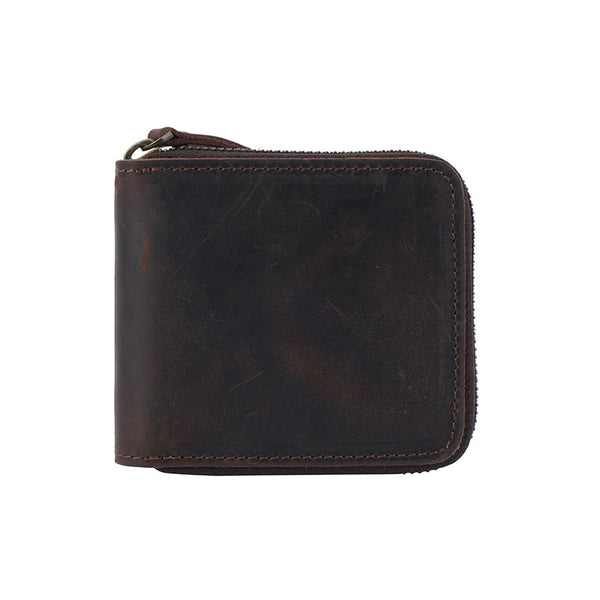 Men Short Wallet Retro Bifold Wallet Handmade Small Clutch YD1079 - ROCKCOWLEATHERSTUDIO