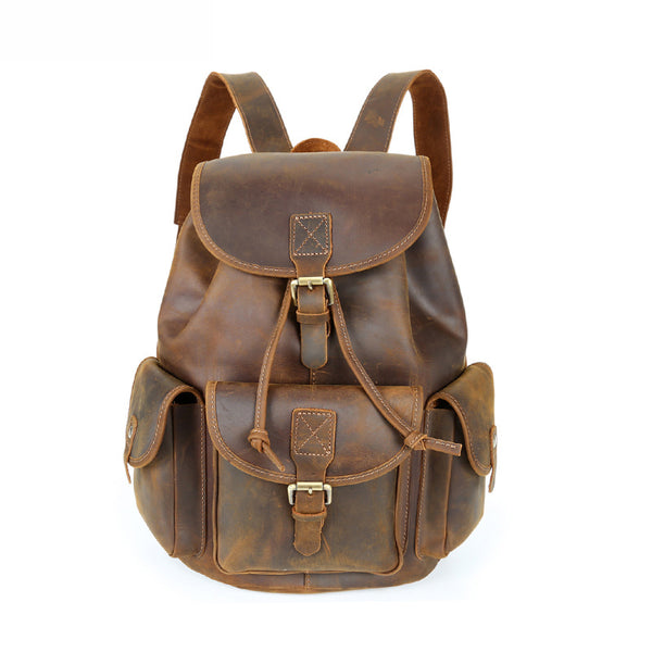 Crazy Horse Leather Backpack Large Capacity Travel Backpack Men Retro Laptop Backpack YD8088 - ROCKCOWLEATHERSTUDIO