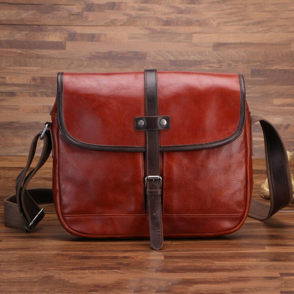 Men Retro Shoulder Bag Full Grain Leather Messenger Bag Handmade Crossbody Bag PEYB77-1
