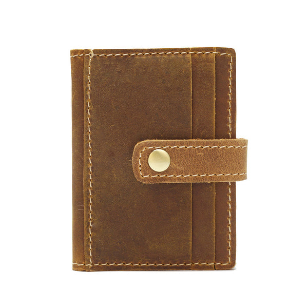 Full Grain Leather Short Wallet Unisex Card Wallet Handmade Small Wallet YD1018 - ROCKCOWLEATHERSTUDIO