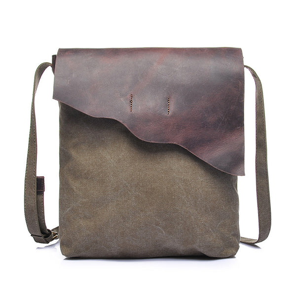 Travelling Waxed Canvas Crazy Horse Leather Messenger Bag Crossbody Shoulder Bag 1833-2