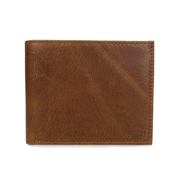 Men Bifold Wallet Full Grain Leather Short Wallet Simple Style Small Clutch YD6605 - ROCKCOWLEATHERSTUDIO