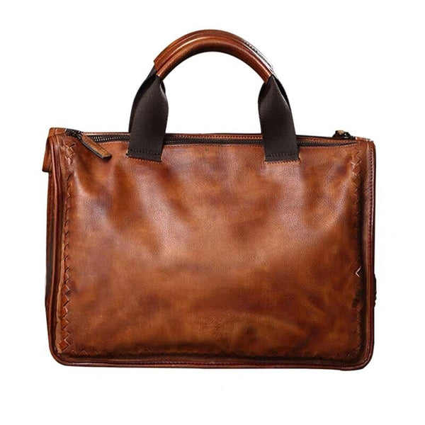 Full Grain Leather Weaving Tote Bag Retro Briefcase Men Shoulder Messenger Bag V180177 - ROCKCOWLEATHERSTUDIO