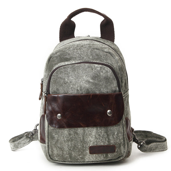 Waxed Canvas Leather Backpack, Vintage Waterproof Shoulder School Bag 80599-1
