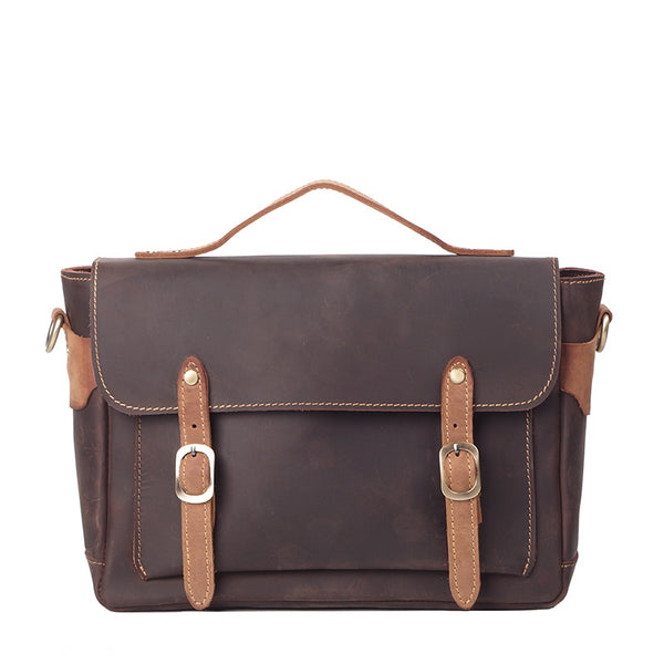 Genuine Leather Men Messenger Bag Shoulder Bag Satchel Bag 8992 - ROCKCOWLEATHERSTUDIO