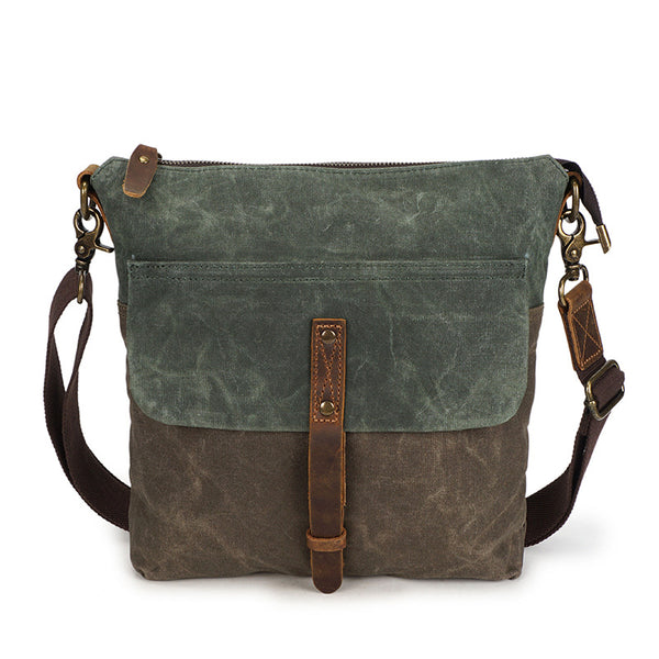 Waxed Canvas Crazy Horse Leather Messenger Bag Crossbody Shoulder Bag 5186-1 - ROCKCOWLEATHERSTUDIO