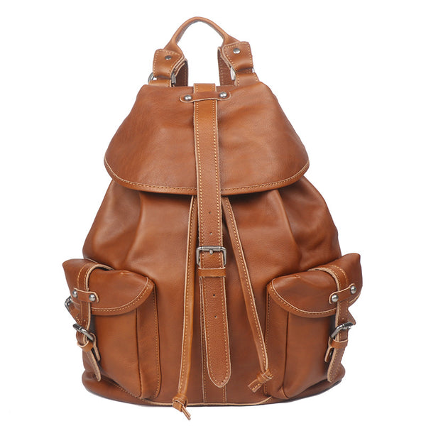Handmade Full Grain Leather Backpack, Vintage Travel Shoulder Bag  8986 - ROCKCOWLEATHERSTUDIO