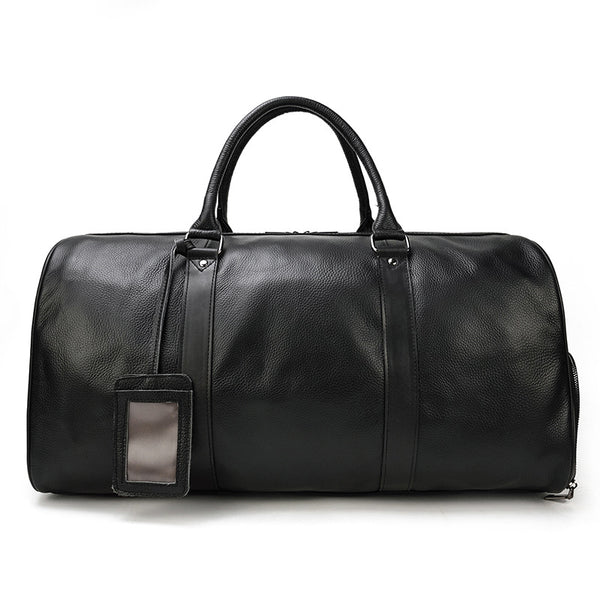Full Grain Leather Duffle Bag With Shoes Compartment Mens Cowhide Tote Travel Bags Weekender Bags LF9423