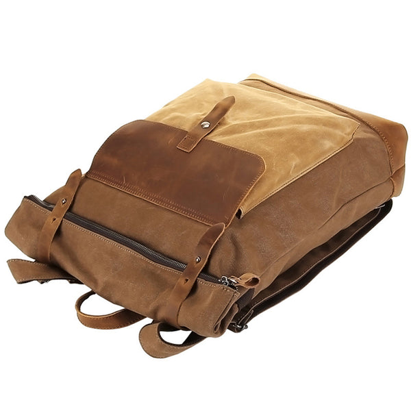 Waxed Canvas Top Grain Leather Backpack, Stylish Travel